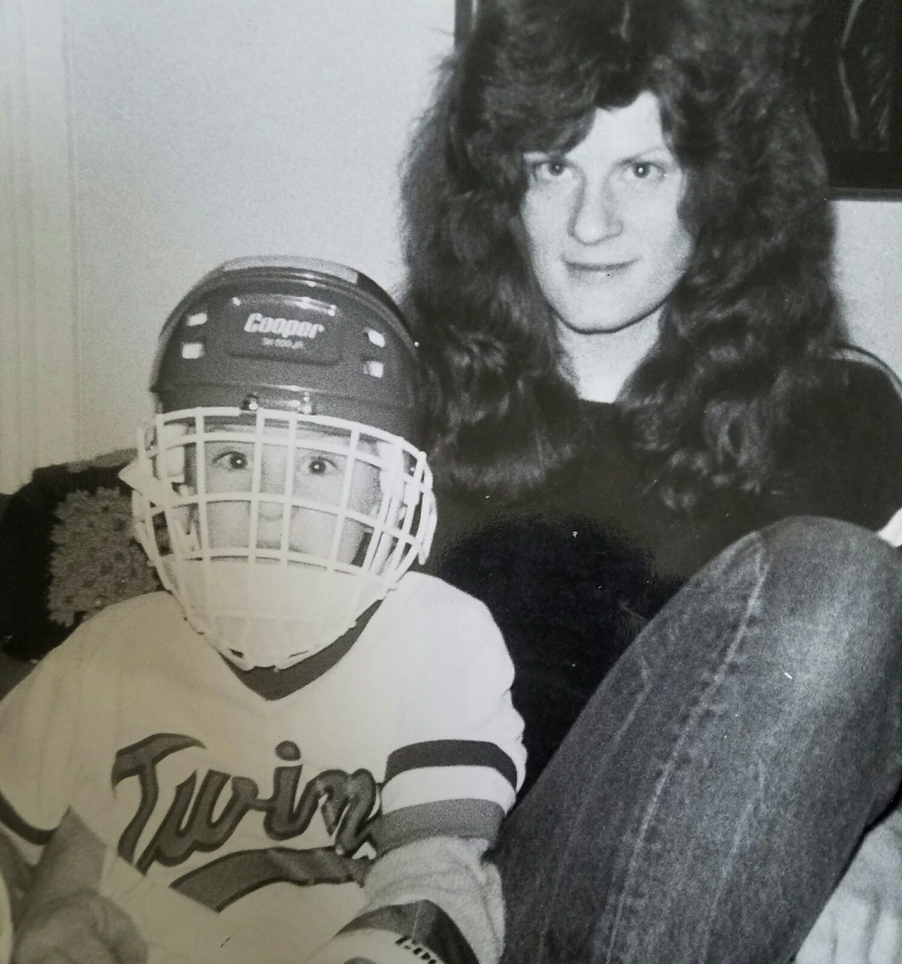 My very short stint as a hockey player. What I lacked in skill, I made up for in enthusiasm.