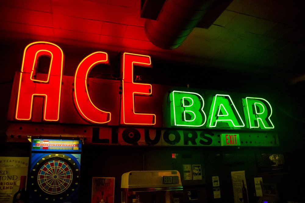 The old Ace Box Bar sign.