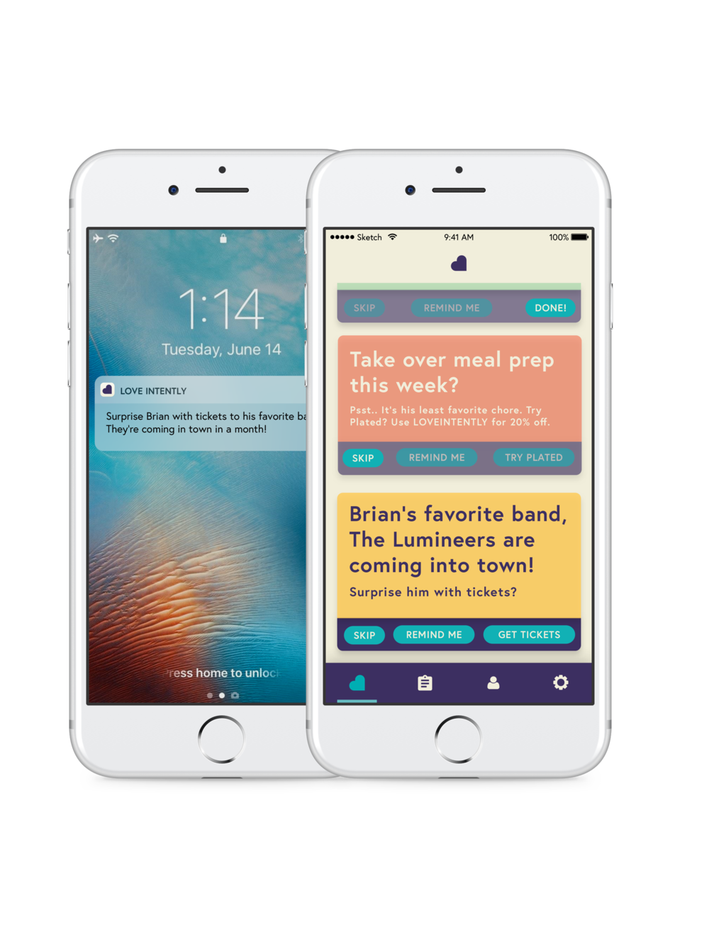 LoveTips + Notifications   Primarily, couples visit the LoveTips page for daily tips to empower their relationship. Here they are able to set reminders or skip the LoveTips.