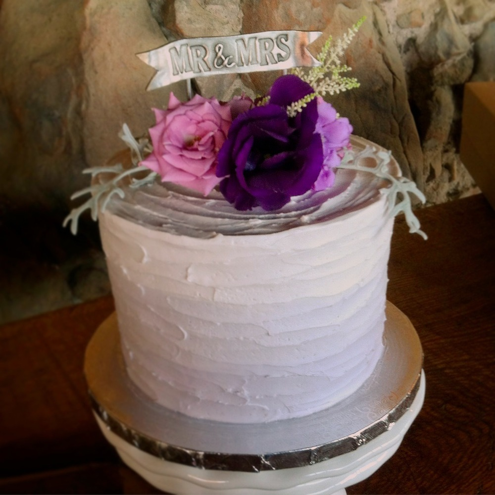 Purple Ombre Rustic Wedding Cake