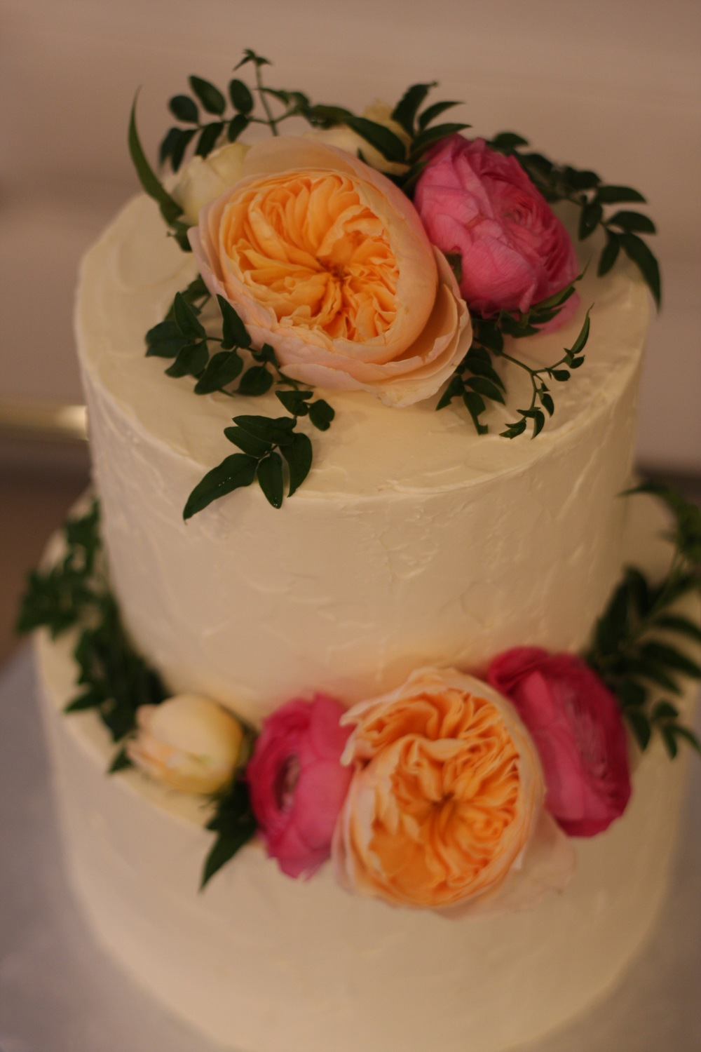 Rustic Buttercream Wedding Cake with Roses