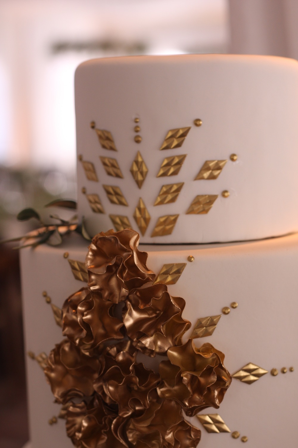 Fondant Wedding Cake with Gold Accents