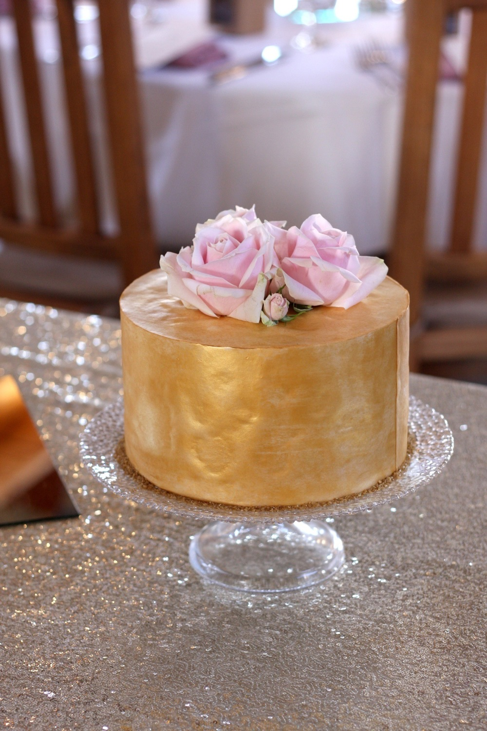 Wedding Cake with Gold Wafer Paper
