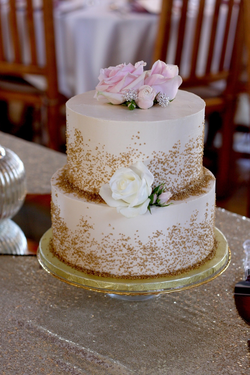 Buttercream Cake with Gold Sparkling Sugar