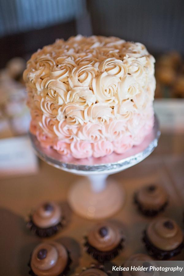 Cutting Cake with Pink Ombre Rosettes