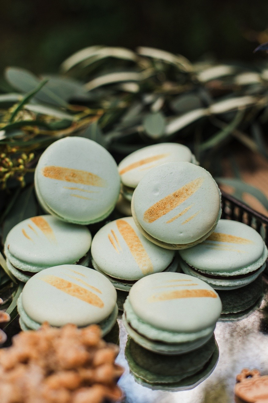 French Macarons with Gold Details