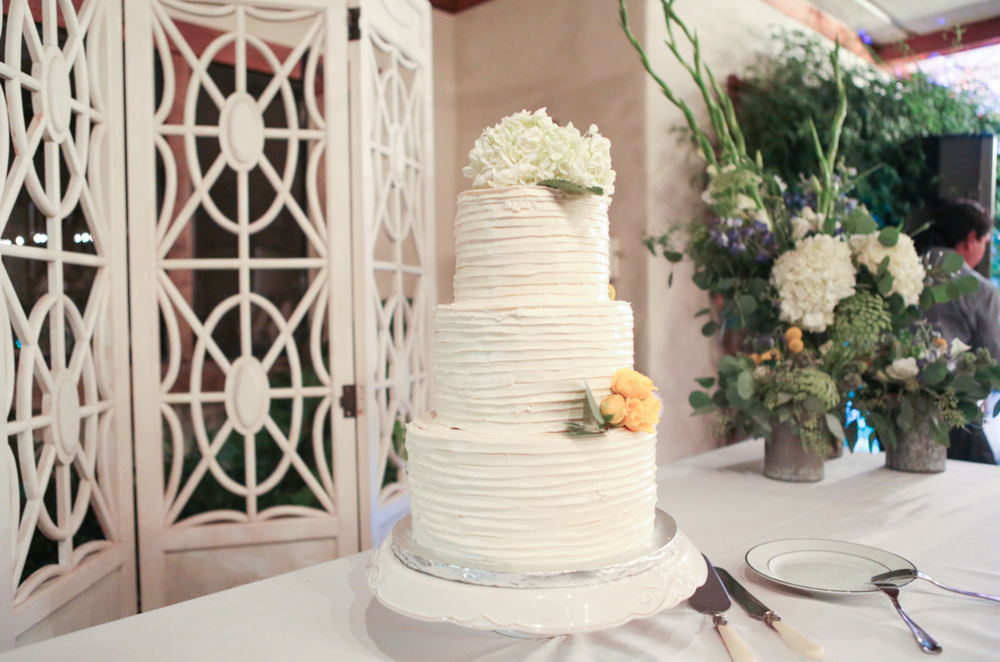 Tiered Wedding Cake with Pintuck Buttercream Ruffles