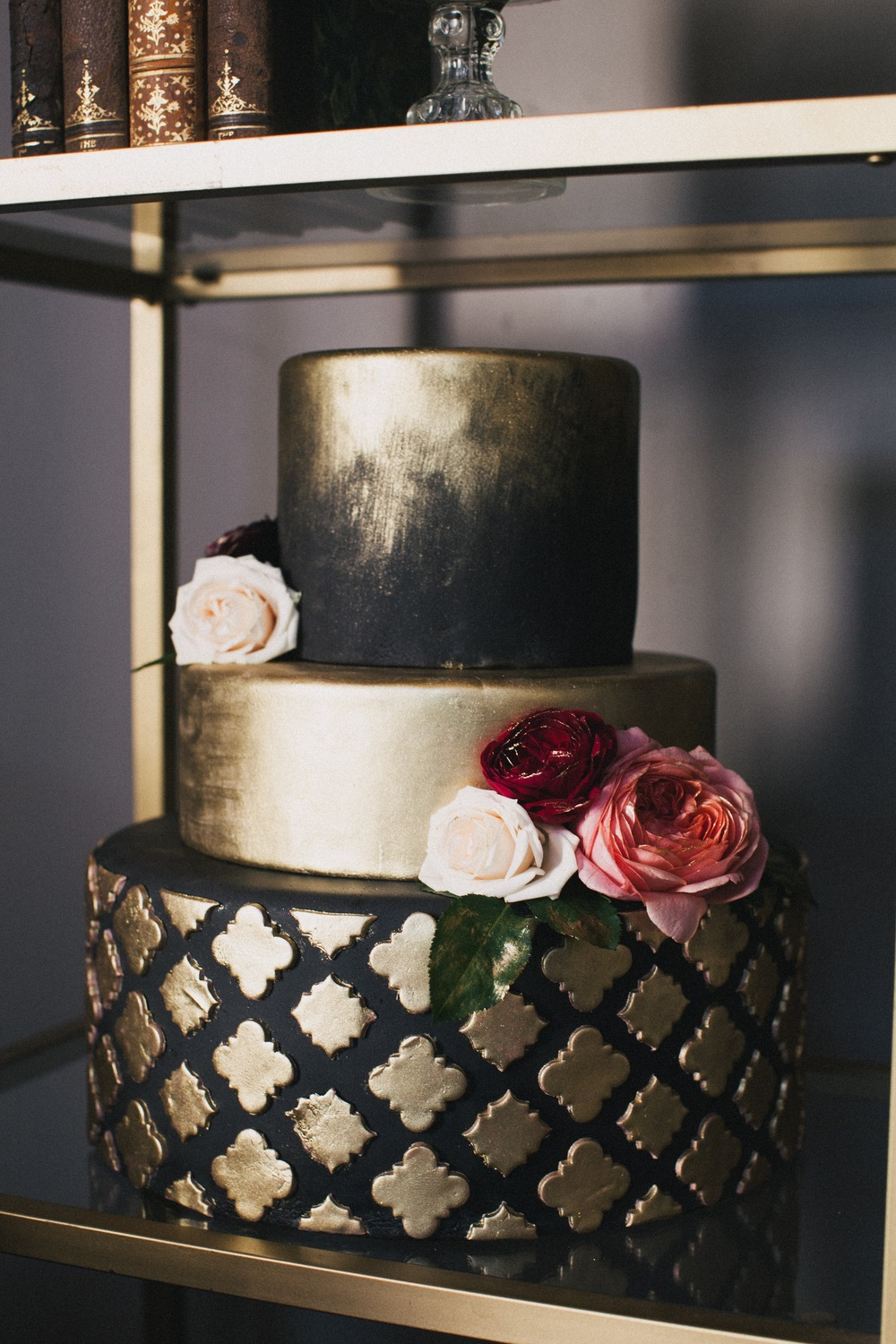 Black and Gold Wedding Cake