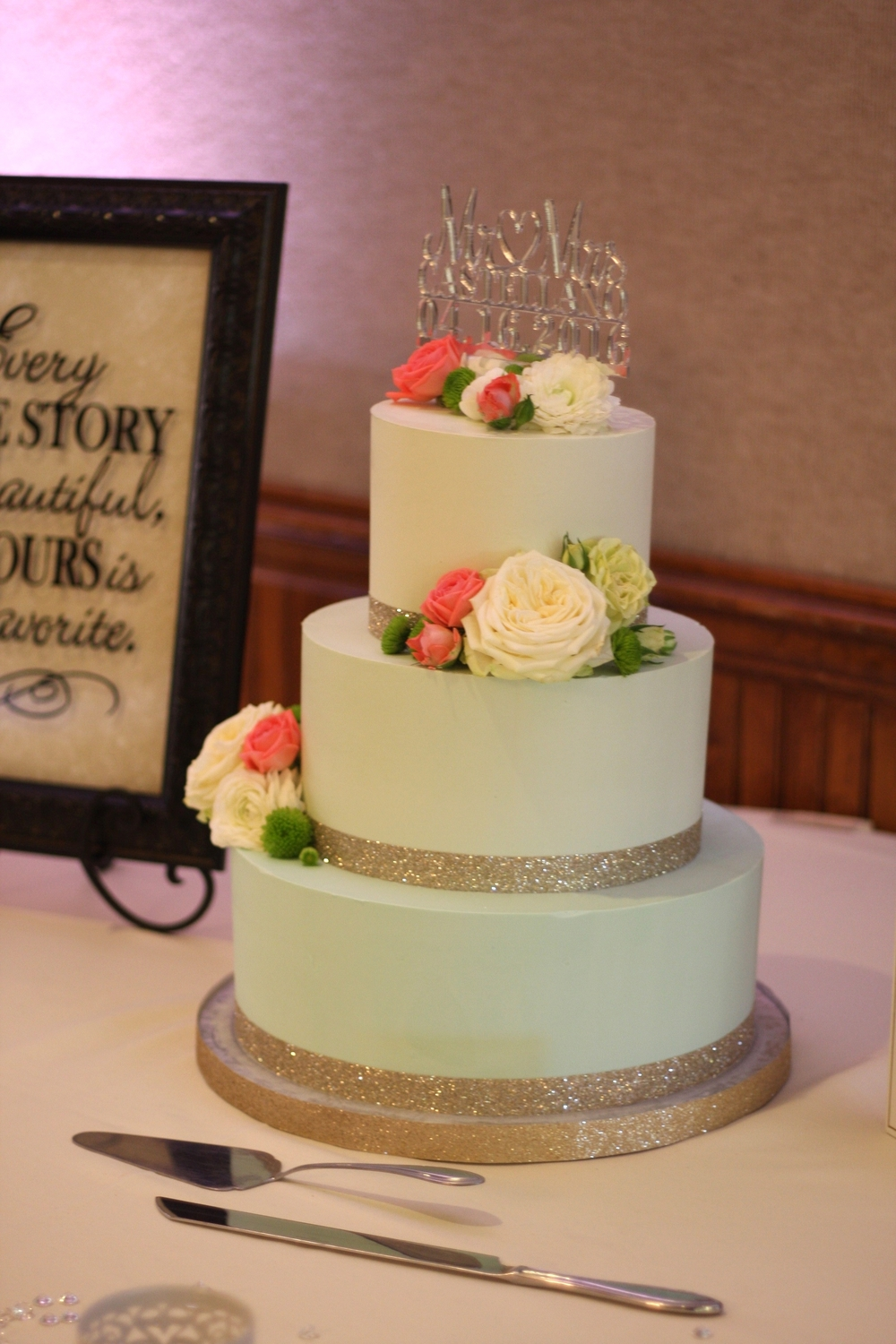 Mint Green Ombre Buttercream Wedding Cake