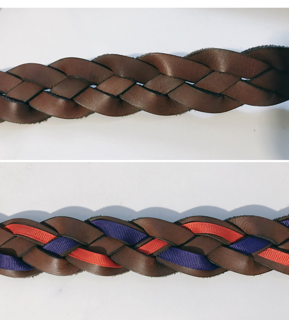 Thrift store belt. I used an upholstery needle to add some grosgrain ribbon into the weave.
