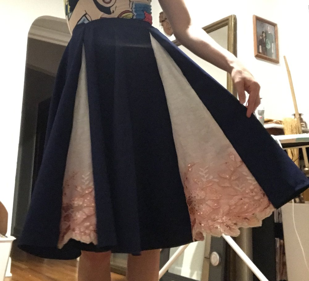The (nearly) completed skirt! Just missing a waistband. This is a full circle skirt divided into fourths with triangular linen godets inserted.