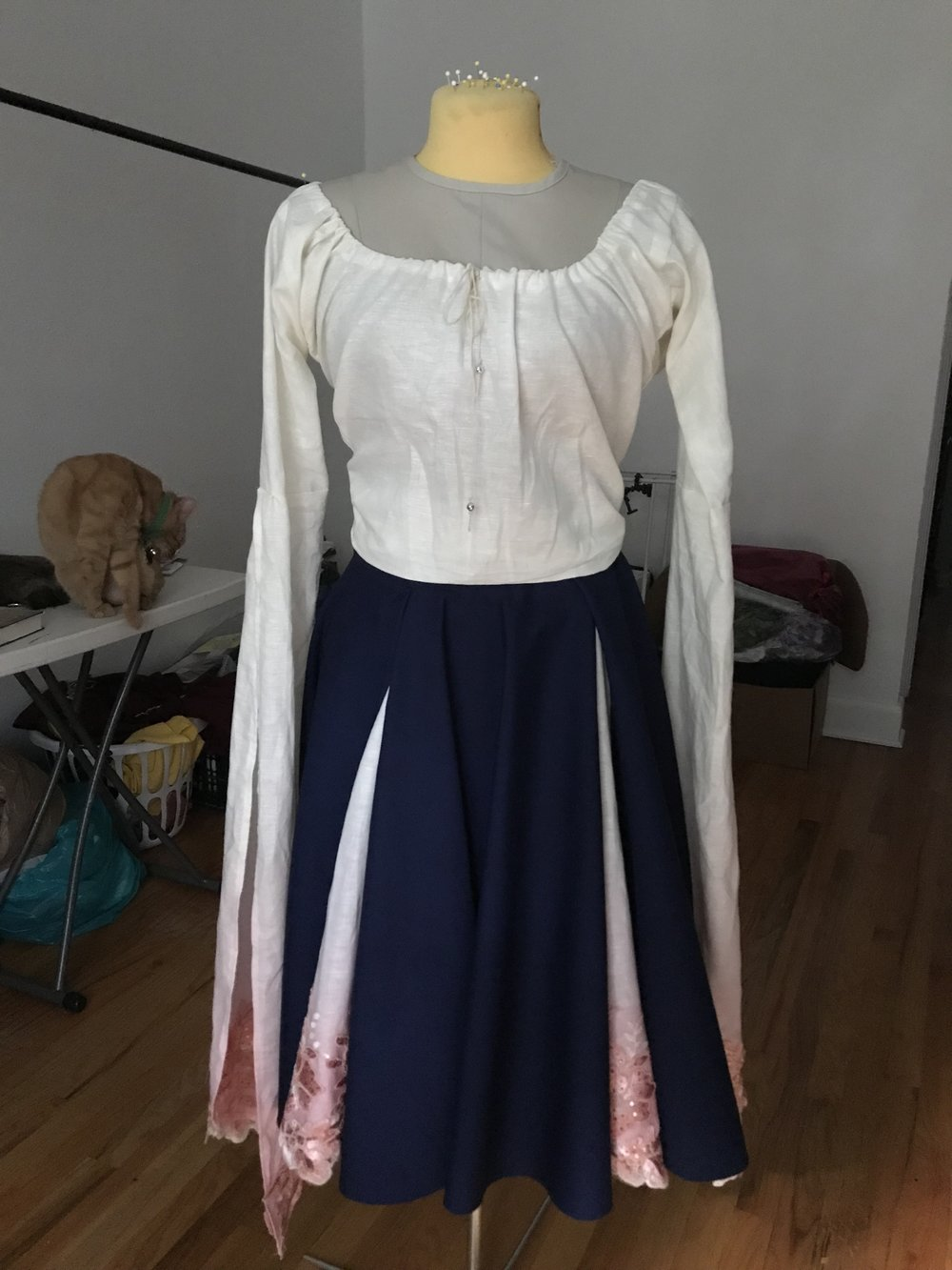 Completed blouse and skirt. The sleeves were dip dyed and had lace added just like the skirt panels.