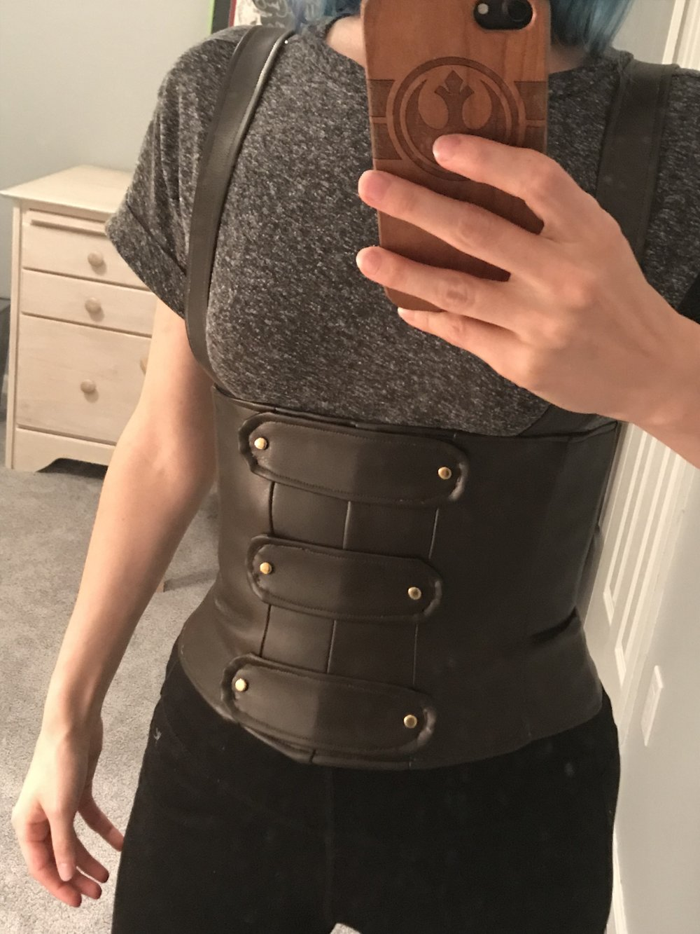The finished corset! It laces up the back.
