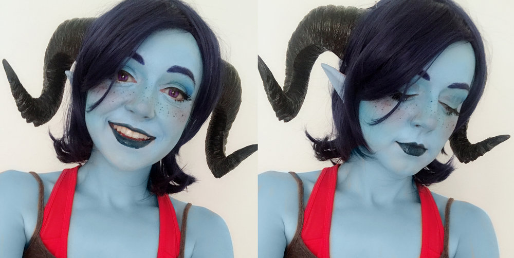 My first makeup test. This taught me that I wanted a lighter lipstick and different horns.