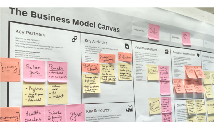 In addition to the design process, students were challenged to think about the business context of their design. Students considered economic feasibility, marketing strategies and channels of distribution. This work was facilitated with The Business Model Canvas developed Strategyzer AG.