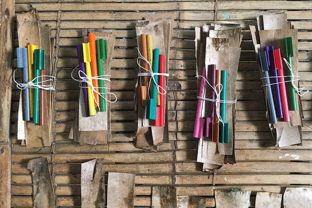 These are some of the materials and tools that were used at the camp. Leaves, bark, paints and pens from Bali presented for a workshop to overcome fears and conquer goals. The natural materials, not only brought students a sense of belonging to the Bali base but, also could be burned during the final graduation fire.