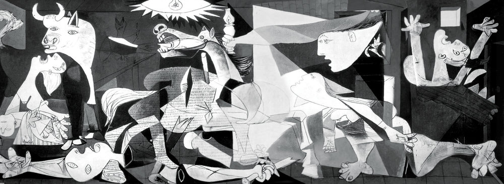 Using Picasso's Guernica as a starting motif, we repainted the war piece as a battle between the faux butter spread's chemists and dairy farmer.