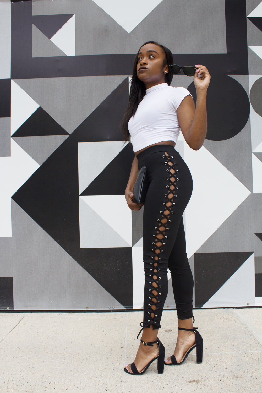THE DEETS:  mock neck crop top* -  asos ; lace-up leggings* -  Sorella ; black strappy sandals -  Target ; black clutch -  DIMEPIECE LA ; Wayfarer sunglasses -  Ray Ban    *similar style