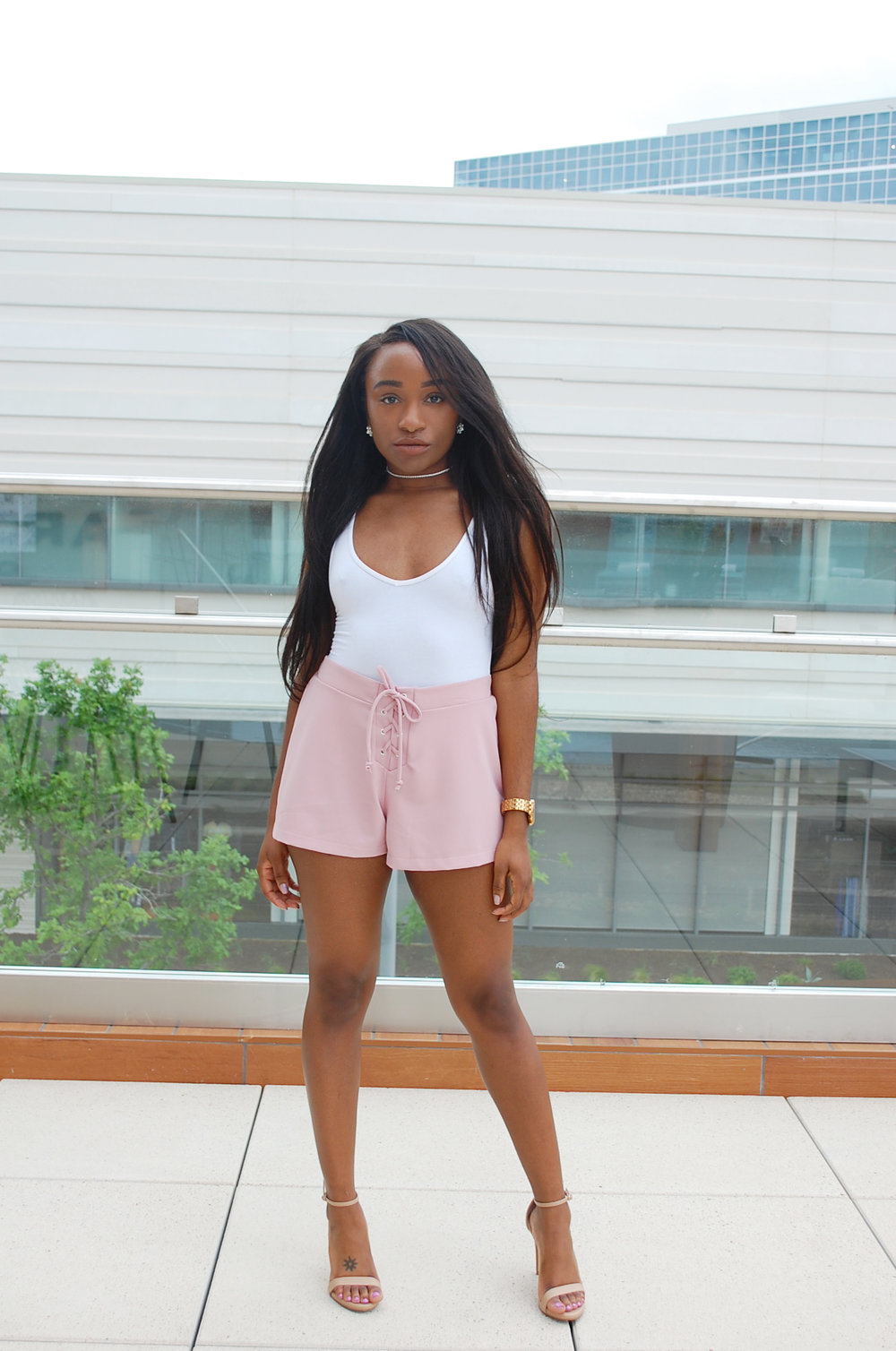 THE DEETS:  V Neck Bodysuit -   Naked Wardrobe  *; Lace-Up Shorts -   Missguided*  ; Stecy Sandals -   Steve Madden    *similar style