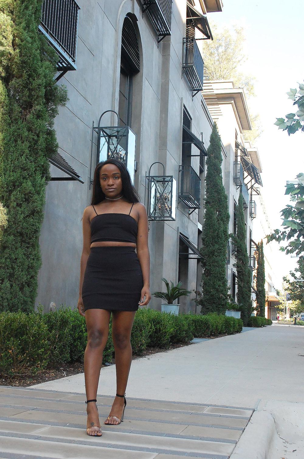THE DEETS : Sarah Strappy Crop & Mini Skirt Set -   Boohoo  ; Holly Lucite Block Heels -   Target  ; Feelin' Single Diamond Choker  -  Naked Wardrobe