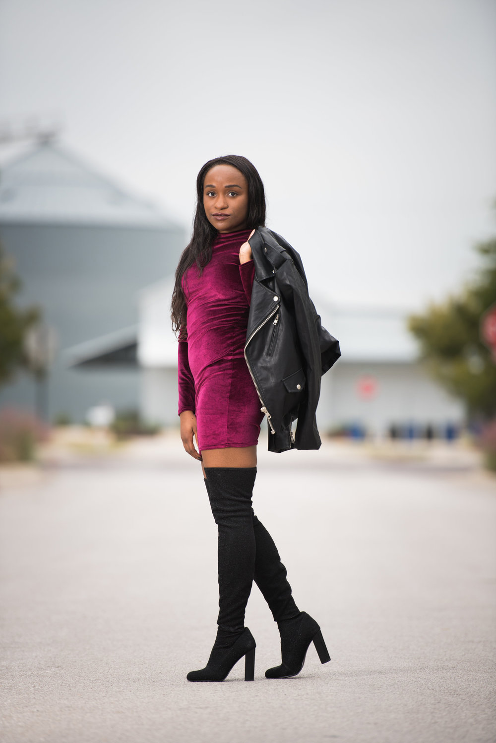 THE DEETS:  High Neck Long Sleeve Velvet Dress -   Boohoo  ; Issac OTK Boots -   Steve Madden  ; Black Leather Jacket* -   Boohoo      *similar style