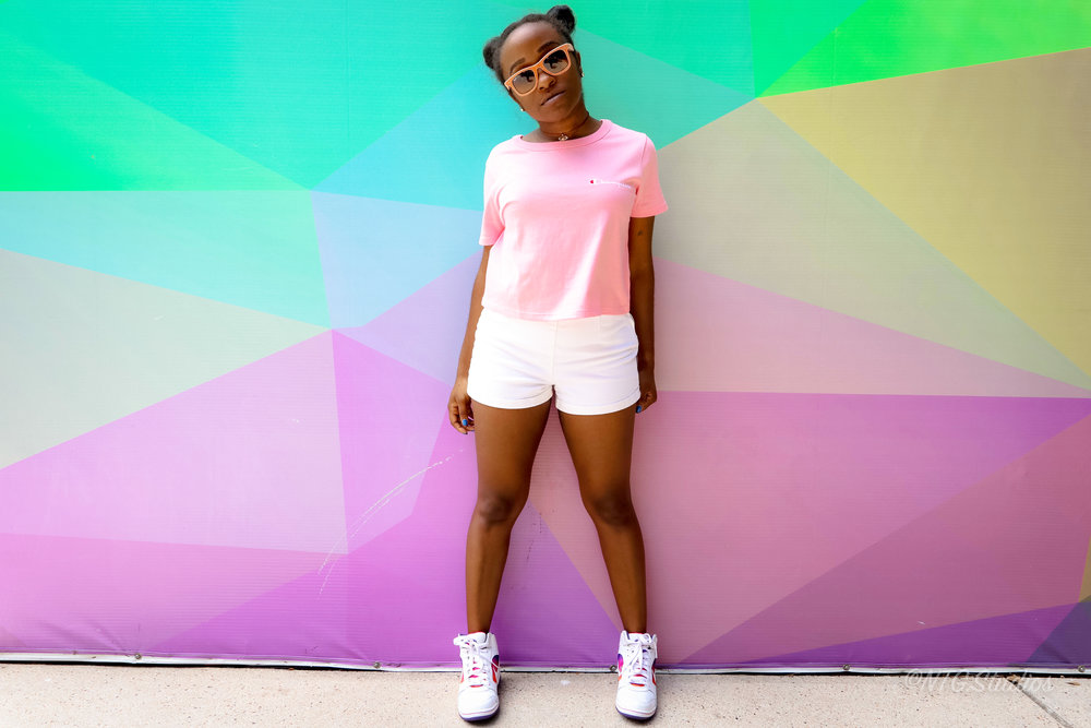 THE DEETS:  Champion Life Women's Cropped Tee -   Champion  ; High Waisted Shorts* -   Forever21  ; Air Force 1* -   Nike  ; Wayfarers* -   RayBan    *similar style, same brand