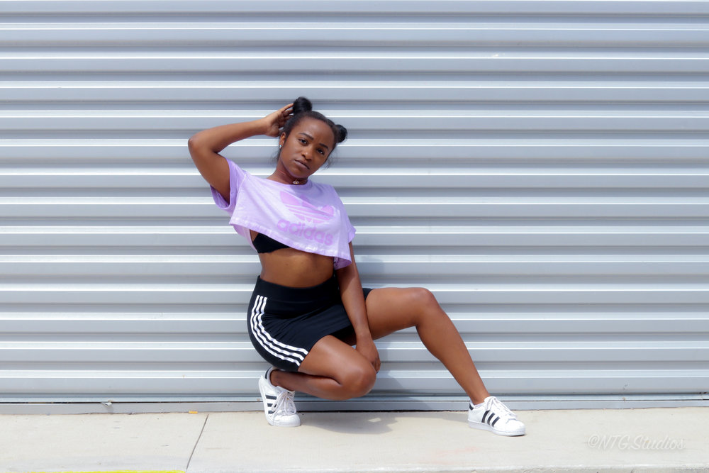 THE DEETS:  Tie-Dye Bra Top -   Adidas Originals  ; Three Stripes Skirt* -   Adidas Originals  ; Superstar Shoes -   Adidas Originals  ; Sydney Choker Quartz Necklace -   ROX Jewlery Shop     *similar option