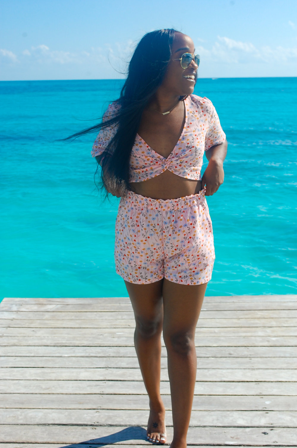 THE DEETS:  Floral V-Neck Blouse -   H&M  ; Floral Shorts -   H&M  ; Aviator Sunglasses -   Ray    -    Ban