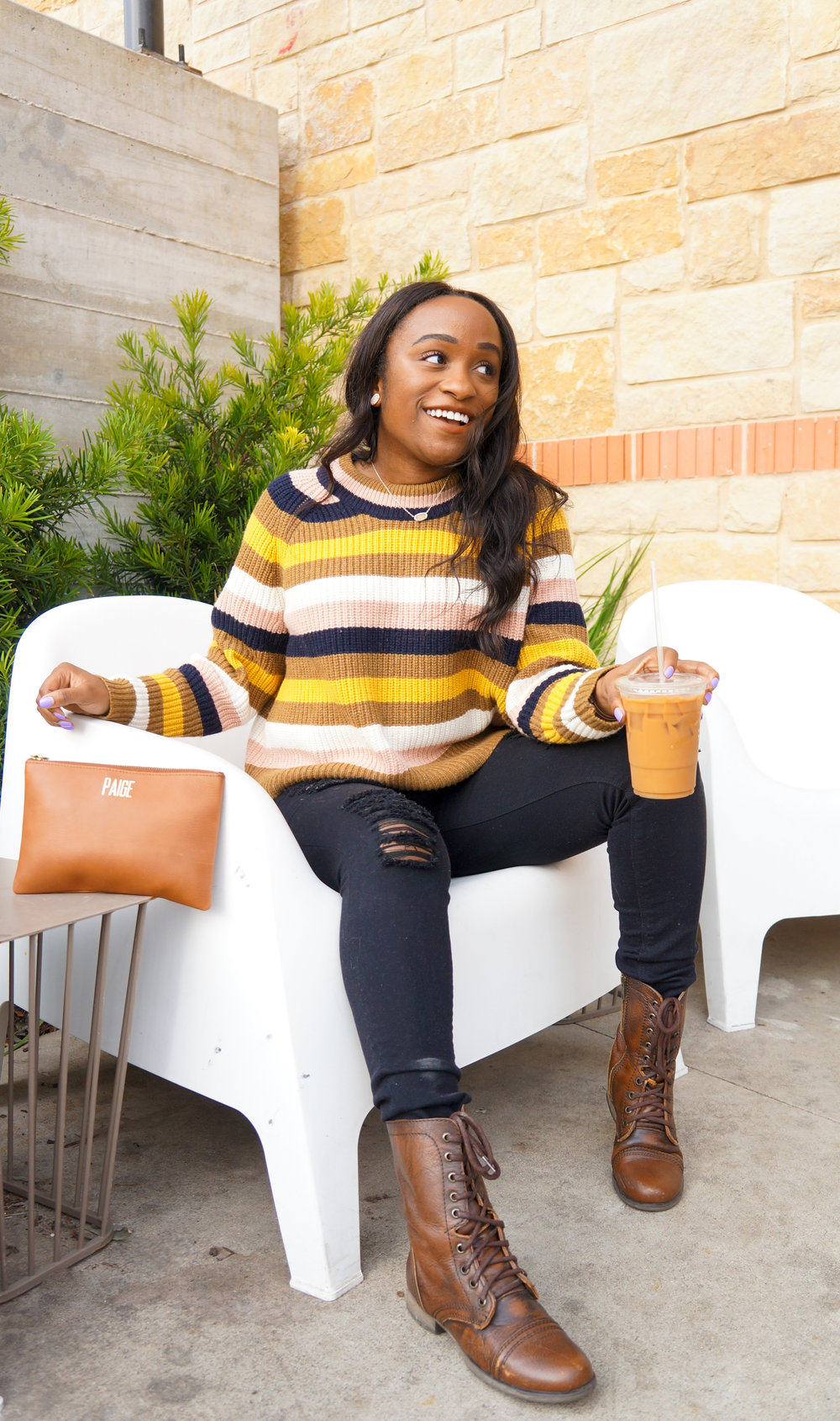 THE DEETS:  Striped Tilden Pullover -   Madewell  ; High Waist Ripped Stretch Jeggings -   Express  ; Laceup Combat Boots -     Steve Madden  ; Large Leather Clutch -   Madewell  ; Ellie Stud Earrings -   Kendra     Scott  ; Elisa Pendant Necklace -   Kendra Scott  ; Clubmaster Sunglasses -   Ray-Ban