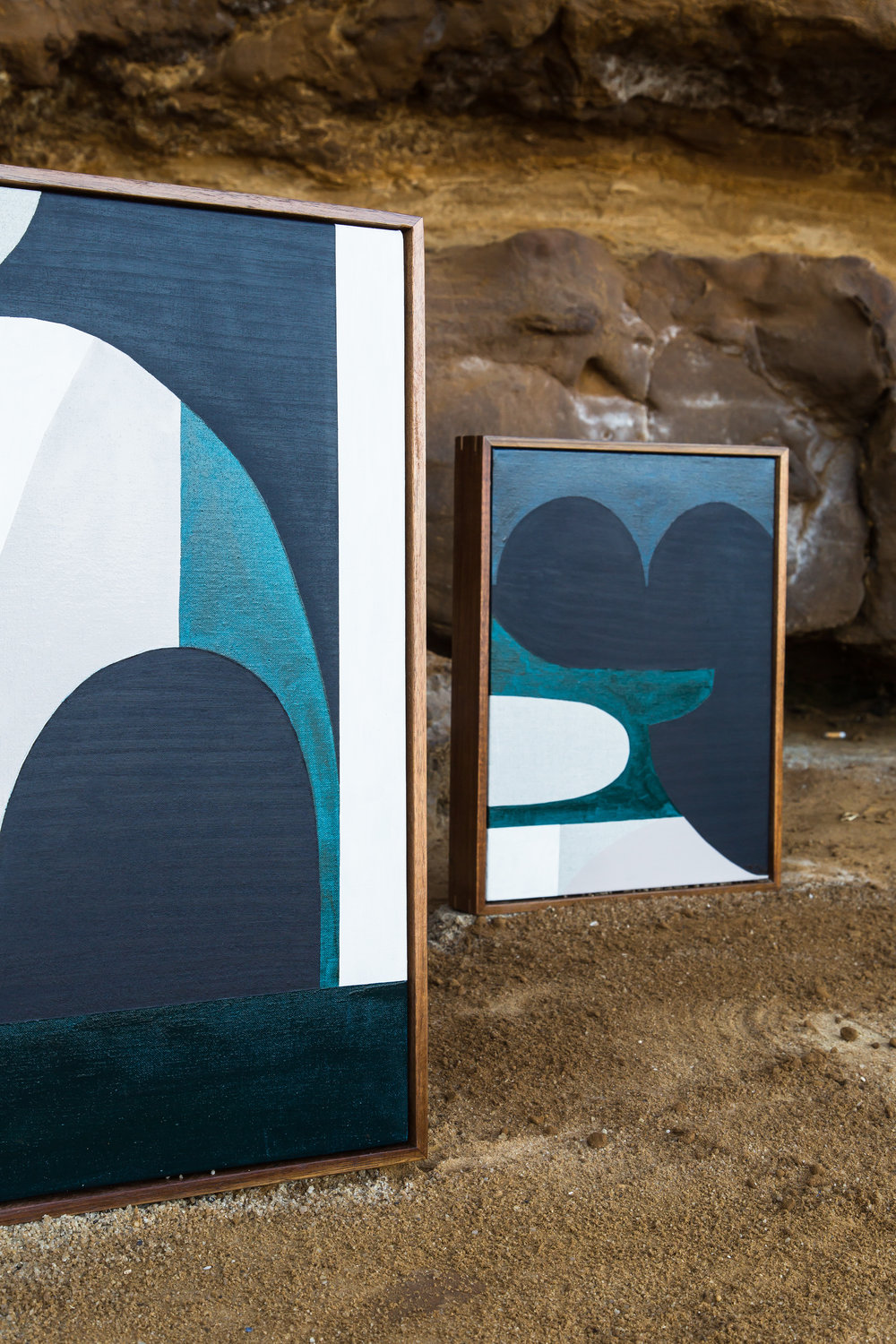 Original Artworks; Latitude (left) The Whaler (right) shot on location at Red Bluff Cliffs, Black Rock, Victoria. Photograph by Suzi Appel.