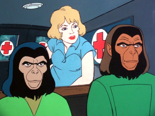 Apes movie regulars Jirra and Cornelius with Judy, the series human female protagonist.