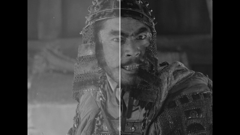Before and after example of the restoration process by Toho, resulting in a stunning new 4K transfer (Image: Toho).