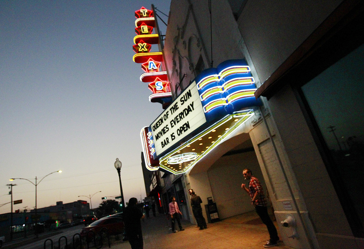 TEXAS THEATRE (Dallas, Texas) - Opened in 1931, this historical theatre was constructed in Venetian style and was the first in Dallas to feature air conditioning. More infamously, it was where Lee Harvey Oswald was arrested. Still sporting iconic neon signage, classic movies are screened here in 35mm and DCP formats.