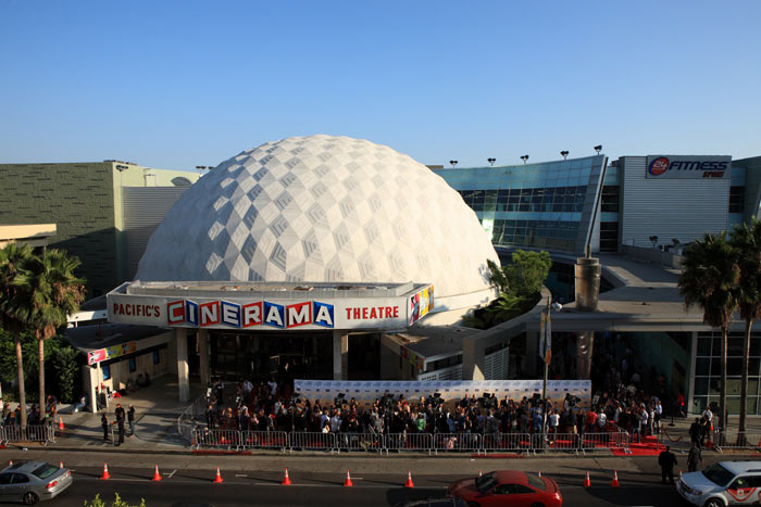 CINERAMA DOME (Hollywood, CA) - Now part of the fantastic Arclight group, the Cinerama Dome was opened in 1963 to screen the wide Cinerama movies on it's curved interior, debuting with 'It's a Mad, Mad, Mad, Mad World'. The dome is often decorated elaborately for premiere seasons and was declared a California Historical Monument in 1998. Although now a first run theatre, it is of vital significance as a monument to classic cinema going, remaining the way it opened in 1963. The dome is equipped for 4K, 35mm, 70mm and the very rare 3 strip Cinerama format via three projectors (one of only three cinemas in the world to do so).