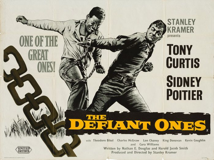 THE DEFIANT ONES (1958 / 35mm Print) - MOMA, New York CityThurs Jan 17th, 1:30pm MatineeNYC's MOMA is in the midst of a sensational and exhaustively comprehensive Sidney Poitier tribute, and Thursday's matinee is a damn fine show. When a prison truck crashes on the highway, a pair of shackled convicts - a white racist (Tony Curtis) and an angry African American (Poitier) - make a run for it. The result is something of a recipe for the 'buddy movie' , endlessly copied for decades to come. More info HERE