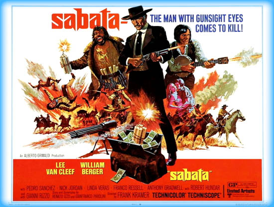 SABATA (1969 / 35mm Print) - Sat Jan 19th / Coolidge Corner Theatre, Brookline MASabata, is a 1969 Italian Spaghetti Western directed by Gianfranco Parolini. It is the first film in The Sabata Trilogy by Parolini, and stars genre royalty Lee Van Cleef in the titular role. A big gritty favorite in 35mm!More info HERE