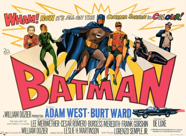 BATMAN (1966) - Sat Feb 9th 11:30am / North Park Theatre, Buffalo NY$5 Tickets! Holy high camp! Experience the righteous action extravaganza that took the legendary 1960s Batman series leap from the TV screen to the big screen in glorious Technicolor with Adam West and Burt Ward as the caped crusaders.More info HERE