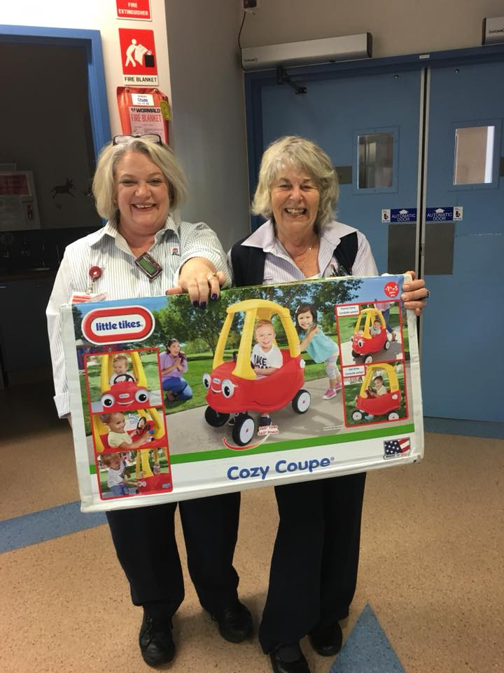 Delivering a Cosy Coupe to the Paediatric Unit at Hornsby Hospital purchased by Smiles2U from recent fundraising. Louise (Nursing Unit Manager) and Chrissy