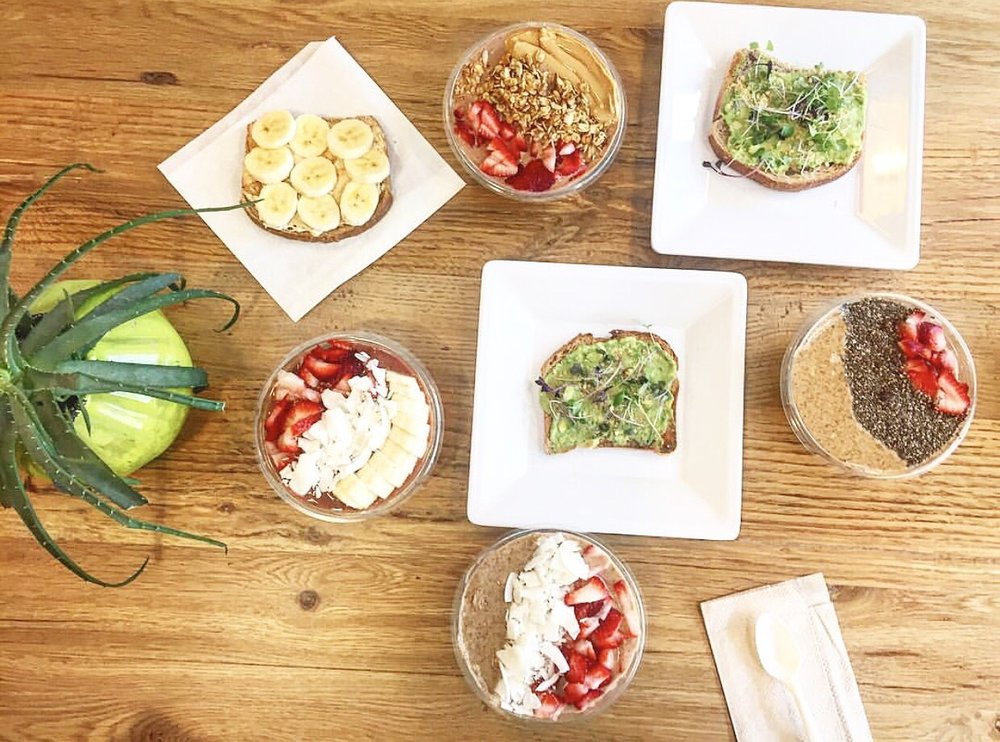 Acai Bowls: Strawberries, coconut flakes, bananas, almond butter, chia seeds, granola & peanut butter. Avocado Parmesean Toast & Fluffernutter Toast