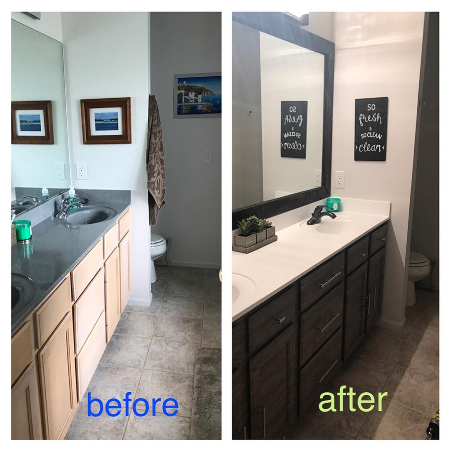 Created my own fancy bathroom with a little help from my friends - gift cards purchased with #MyRocketripRewards and CLEAResult! Best $300 I never spent!