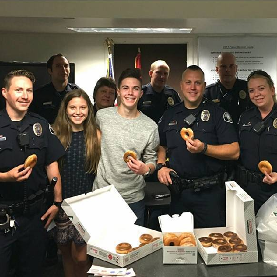 Used my Rocketrip Points to buy Krispy Kreme doughnuts and Starbucks coffee for our local police department! #MyRocketripRewards