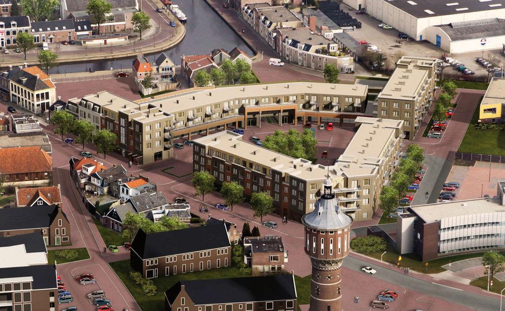Woningbouw, winkelruimtes en parkeergarage Boschplein