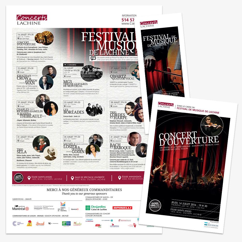 .... Design d'affiche et de dépliants présentant la programmation du Festival de musique de Lachine .. Poster and flyer design for the Festival de musique de Lachine....