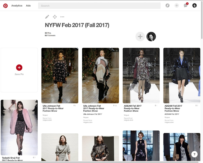 The start of the NYFW Pinterest Board