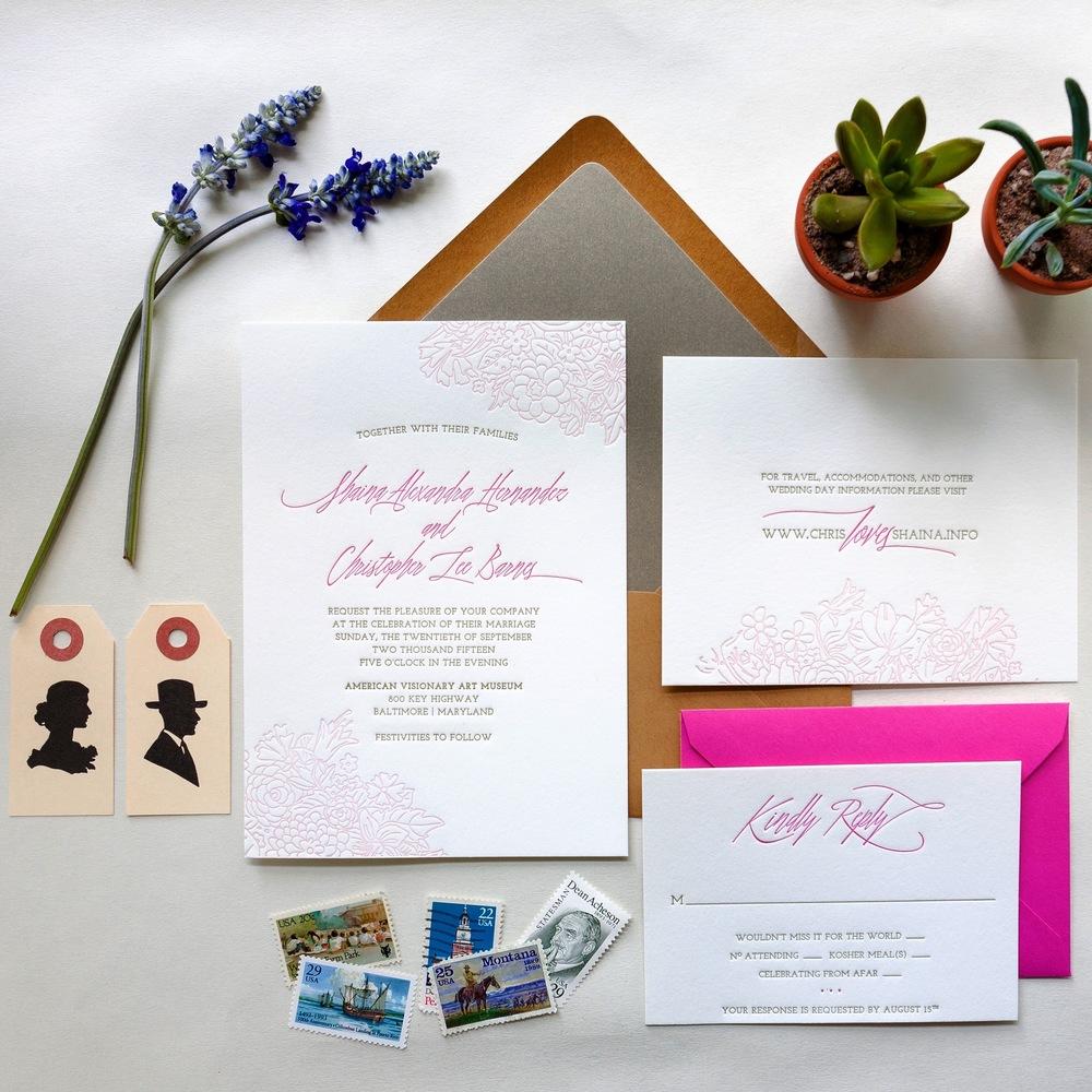 letterpress wedding invitations kraft pink succulents vintage stamsp darling and pearl.jpg