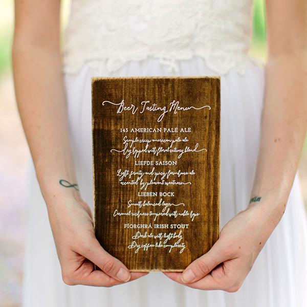darling pearl custom signs wooden menu wedding style me pretty.jpg