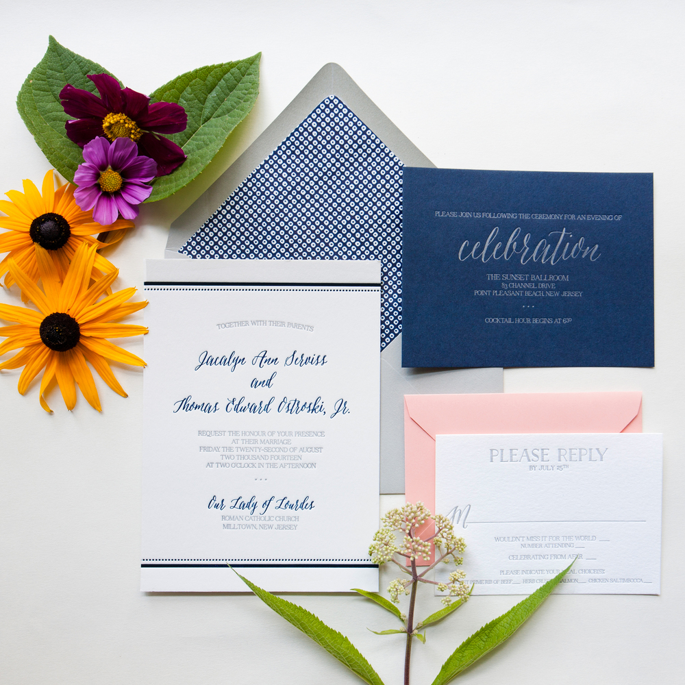 darling pearl letterpress wedding invitation beach coral navy.jpg