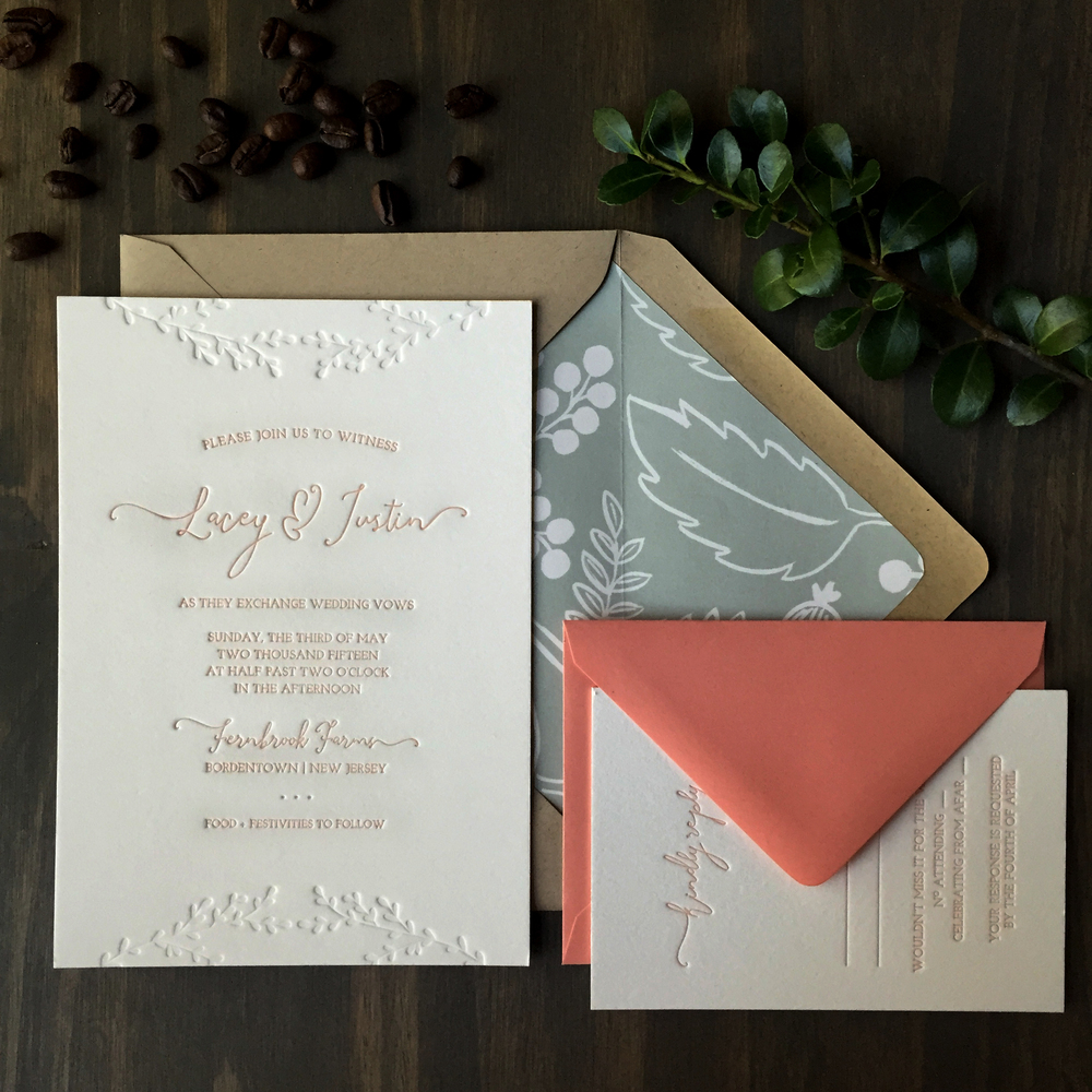 darling pearl letterpress wedding invitation sage coral.jpg