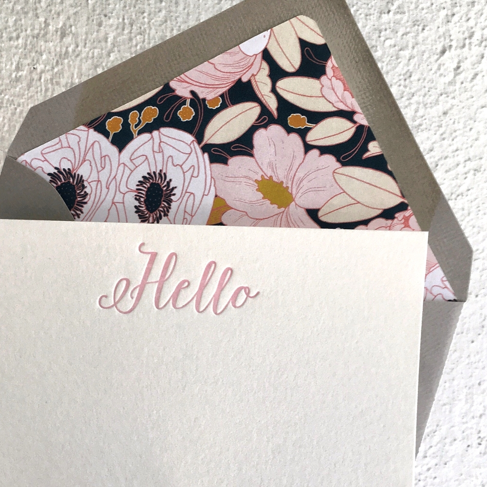 letterpress note cards hello pink floral darling and pearl.jpg