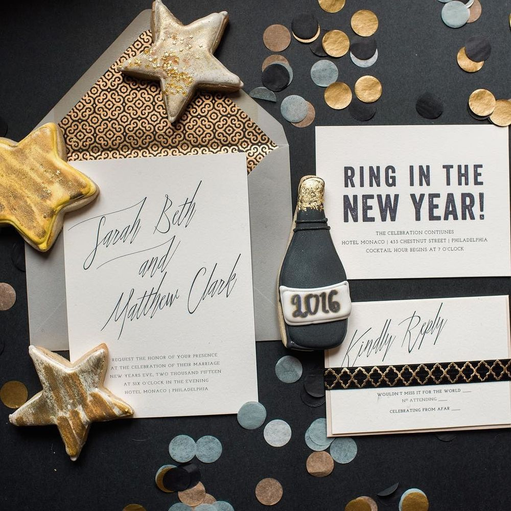 darling pearl letterpress wedding invitation NYE black and gold.jpg